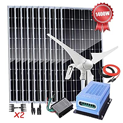 1400W Solar Wind Power Off-Grid System 12V Battery Charger Kit with 400W Wind Turbine Generator/10pcs 100W Solar Panels/MPPT Charge Controller/Connecctors & Cable