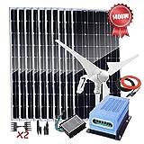Énergie éolienne solaire de 1400 W système hors réseau pour la maison, kit de chargeur de batterie 12 V avec générateur d'éolienne de 400 W/ 10pcs panneaux solaires de 100 W/contrôleur de charge MPPT