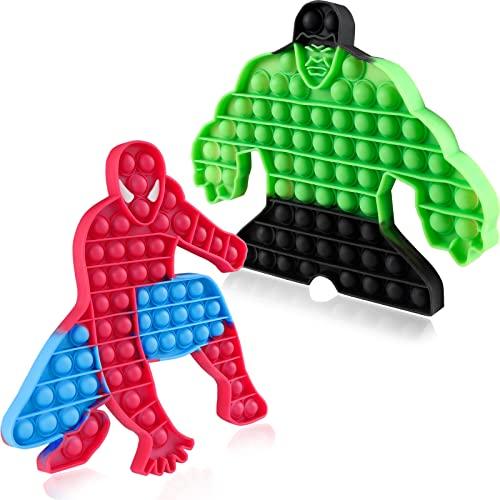 2 Packs Giant Popits Fidget Toy Gifts for Kids Children Boys Pop Poppers It Popitz Pops Popitsfidgets Jumbo Huge Large Mega Big Push Bubble Superhero Fidget Popping Bulk Marvel Toys Set Spiderman Hulk
