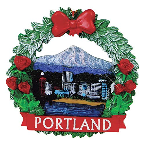 City-Souvenirs Portland Christmas Ornament Wreath 3.75 Inches