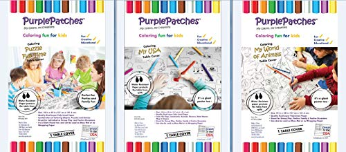 PurplePatches Coloring Fun Activity Paper Tablecover / Tablecloth - Festive Pack - Big Savings - Assortment of 3 Fun Covers / Designs - Perfect for Thanksgiving, Christmas, Hanukkah and Parties