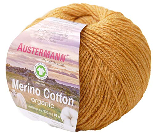 austermann Merino Cotton Organic, Honig 09, Biowolle zum Stricken und Häkeln, Wolle GOTS Zertifiziert