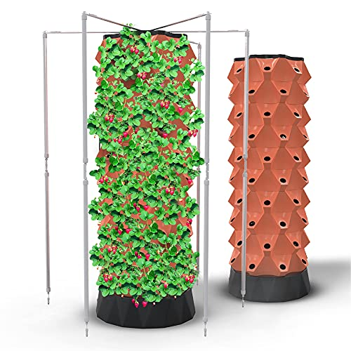 Hydroponics Growing System Vertical Tower | Automated Aeroponics Indoor Tower Garden with LED Grow Lights - Aquaponics Growing Kits Herb Garden by Nutrabinns - 80 pots