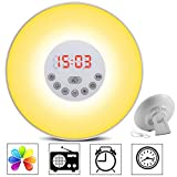 totobay Wake Up Light, 2nd Generation} Sunrise Simulation Snooze Alarm Clock Bedside Night Light with Nature Sounds, FM Radio, Touch Control and USB Charger