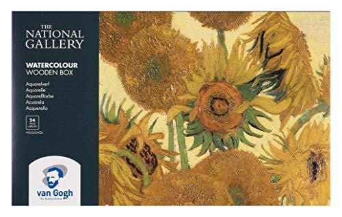 The National Gallery Van Gogh Watercolor Paint Set, Wood Box, 24-Half Pan + 3 Accessories, Sunflowers