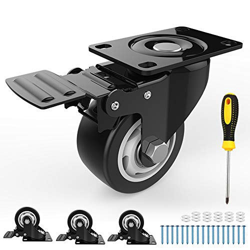 Caster Wheels – 4 PCS Swivel Caster Wheels with Safety Lock – 3-Inch Wheels for Furniture – Noiseless Heavy-Duty Wheels with Polyurethane Rubber Coating – 360-degree Rotation – 1000 Lbs Total Capacity
