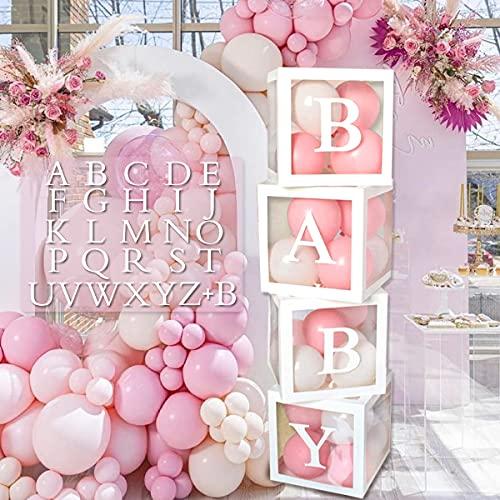 Kit de Caja de Decoración para Baby Shower, 4 Cajas de Globos Transparentes Blancas con 27 Letras, Decoraciones de Fiesta para Baby Shower, Niño y Niña Revelación de Género, Cumpleaños Decoración