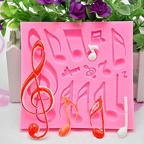 Fondant Impression Mat, KOOTIPS Tree Bark texture Design Silicone Cake Decorating Supplies for Cupcake Wedding Cake Decoration (music note cutter)