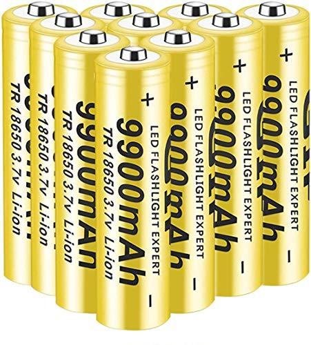 18650 Batería 3. 7V Recargable 9900mAH batería de Litio de Litio Grande batería de Litio Top 18650 Batería precargada Baterías de batería Recargables ICR (10pcs)