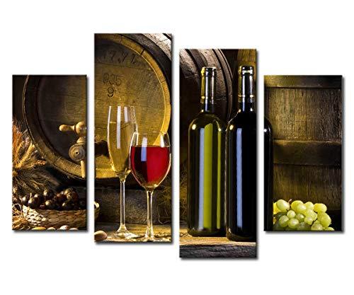 Noah Art - Cuadro decorativo para pared, diseño moderno de botella de vino tinto y uva
