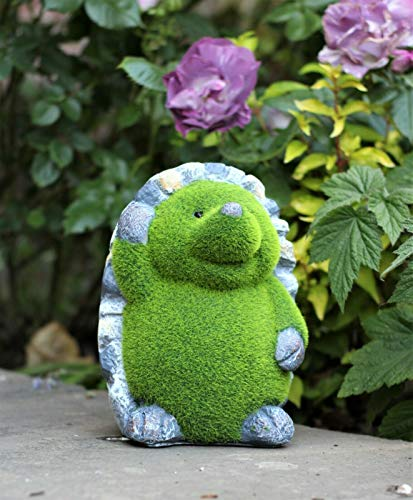 HH Home Hut Garden Ornament Hedgehog Animal Flocked Grass Effect Outdoor Sculpture