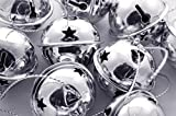 "Charmed Large Size Christmas Star Cutout Jingle Sleigh Bell Ornament 3"" Pack of 6 (Silver)"