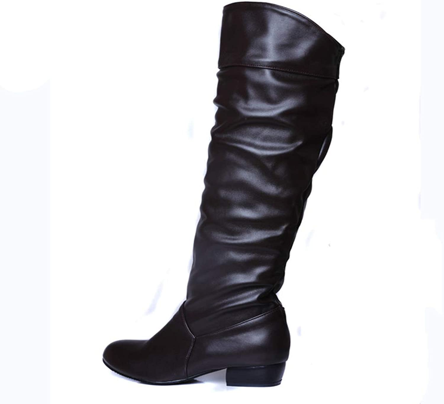 Hoxekle Knee High Women Winter Long Boots Black White Pleated Decoration Leather Slip On Female Boots