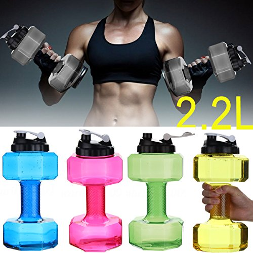 lilyy 2.2L Big Capacity PETG Eco-Friendly Cup Dumbbell Shape Drinking Water Bottles Kettle Personalized Bottle (Gray)
