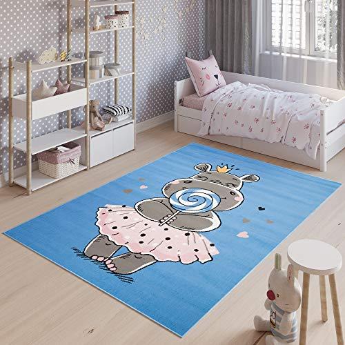 Tapiso Jolly Alfombra Cuarto de Niños Juvenil Diseño Moderno Azul Rosa Gris Blanco Hipopótamo Resistente Fina 200 x 300 cm