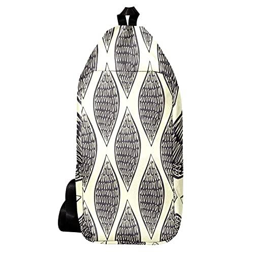 EZIOLY Mochila de hombro con husillo negro dibujado a mano abstracto, bolsa...