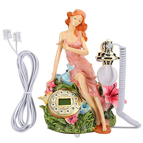 FOLOSAFENAR Teléfono Antiguo con detección automática Manos Libres Teléfono Europeo fácil de operar, para decoración, para el hogar, para identificación de Llamadas FSK/DTMF