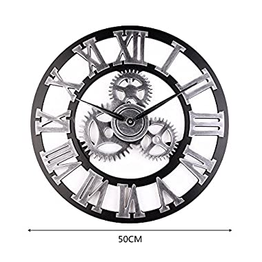 Vintage Clock European Retro Vintage Handmade 3D Decorative Gear Wooden Vintage Wall Clock, 19.6-Inch Roman Numeral Noiseless Gear Wall Clock / Kitchen Living Room Home Hotel Decoration