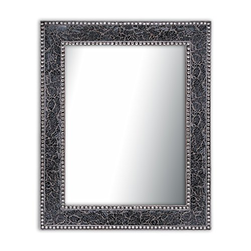 Black/Gray Crackled Glass Decorative Wall Mirror - 30X24 Mosaic Glass Wall Mirror, Vanity Mirror, Glamorous (Black/Gray)