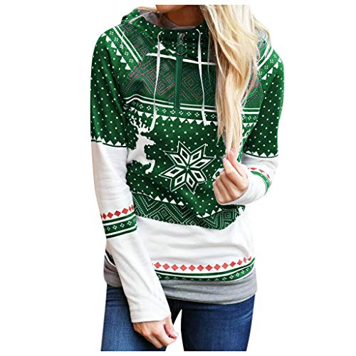 DONTAL Christmas Women Zipper Polka Dot Print Tops Hooded Sweatshirt Pullover Blouse T-Shirt Green