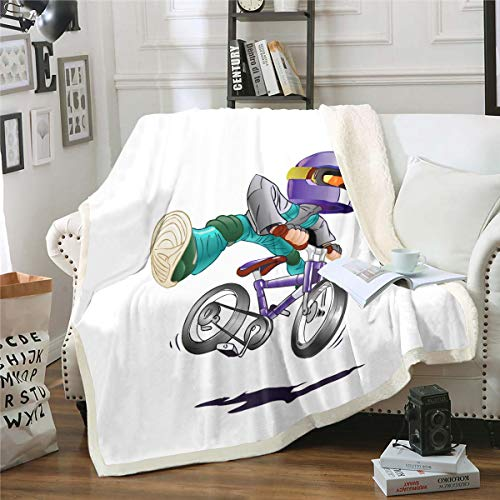 Riding Boy Cartoon Pattern Sherpa Blanket Couch Sofa Chair Bed Jumping Bike Flannel Throw White Microfiber Ultra Soft Blanket Size(60inchx80inch)