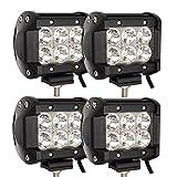 BMOT 4 Pcs LED Work Light Bar,18W Driving Lights 12v Waterproof IP67 Offroad Fog Lights for Rzr ATV UTV SUV...