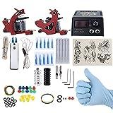Verilux® Complete Tattoo Kit 2 Tattoo Machines Power Supply System (Red, THREE PIN US PLUG)