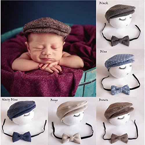 Binlunnu Newborn Baby Photography Photo Props Boy Girl Costume Outfits Hat Tie Set (Coffee)