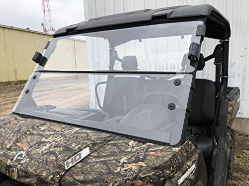 2016-2021 A&S Audio And Shield Designs Can-Am Defender HD5/ HD8/ HD10/ Defender Max 1/4 Standard Polycarbonate Fold Down Windshield