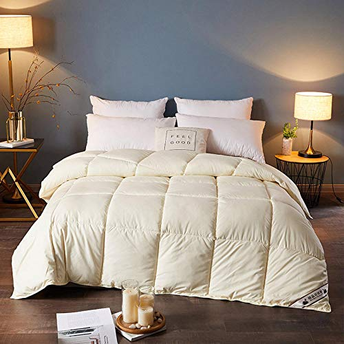 Hahaemall King Size Feather Duvet Double Size Duvet - All Season Soft Quilted Down Duvet Double - Classic -Anti-allergy - Cooling - Duvet Quilt-yellow_220x240-4kg