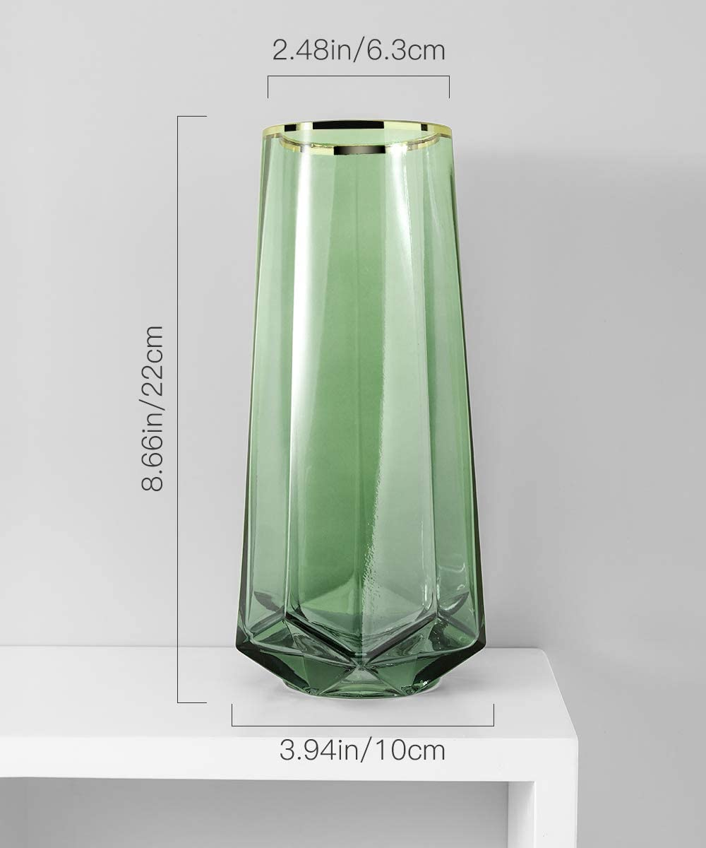 Green Gift for Wedding Christmas Housewarming 8.7 Inch Crystal Ins Style Decorative Vase Gold line Flower Plant Bud Vase Container for Office Home Kitchen Lewondr Glass Vase