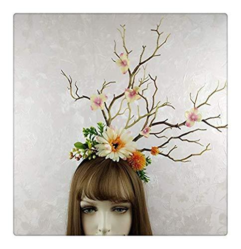 Z-one 1 Forest Tree Branches Gothic Headdress Gardenia Crown Garland Flower Cosplay Photo Props