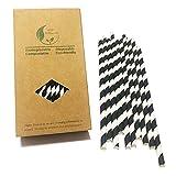 Caja de papel de 100 pajitas de papel a rayas negras y blancas ideales para fiestas (rayas negras)