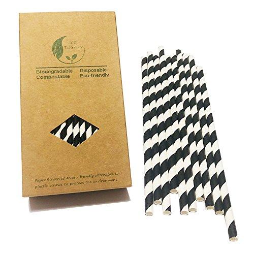 BOFA Schwarz Papier Trinkhalme mit Wirbel Streifen,20cm/7.87 zoll long,100% biologisch abbaubar, ideal für Cocktail Deko, Geburtstagsfeier und Hochzeit 100 Stück
