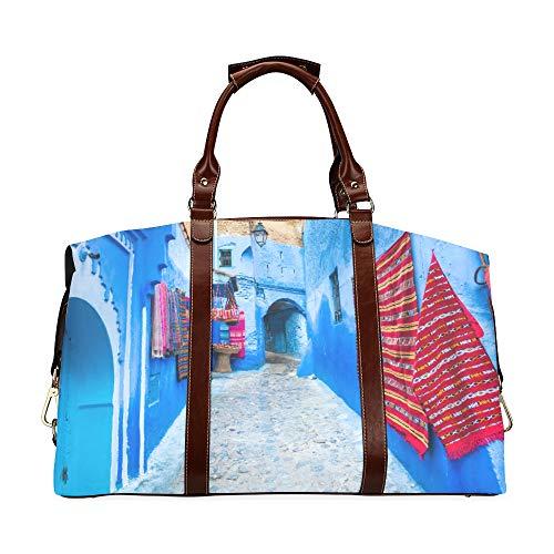 Bolsa de Viaje Calle Estrecha Chefchaouen Ciudad Azul Marruecos Clásico de Gran tamaño Impermeable PU Cuero Bolsos para Hombre Bolsos de Viaje para niñas