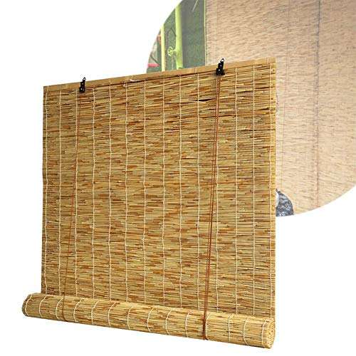 WYCD Bambusrollo Raffrollo - Rollo Bambus für Den Innen- Und Außenbereich-Sonnenschutz-Wärmedämmung-Belüftung - Anpassbare Größe