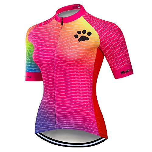 JPOJPO Cycling Jersey Women Bike Jerseys Pro Team Summer Short Sleeve MTB Bicycle Shirt Top Quick Dry Cycling Clothing, 1cd7030, Chest31.5-34=Tag M