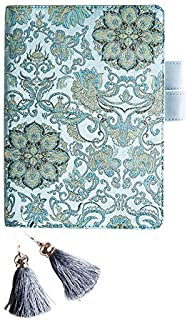 Chris.W Refillable A5 Planner PU Leather Cover Notebook with Pen Holder Loop, Business Cards Pockets and Tassel Page Markers, Inner Pages Included(Turquoise)