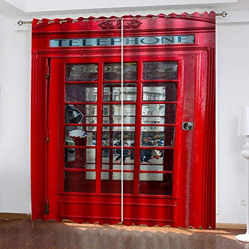 FFKJWL Cortinas habitacion Opacas 2 Piezas con Ojales 3D Cabina de teléfono roja de Street View Cortinas termicas aislantes Frio y Calor para Salón Dormitorio Decoración de la Ventana 100x214cm