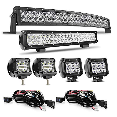 DOT 5D Curved 52' 300W Led Light Bar+20' 126W Led Light Bar+4x 4' Led Cube Pods+Wiring Kits For Driving Lamp Marine Boat Polaris Pioneer Can Am Defender Dodge UTV ATV Kubota Kawasaki Suzuki Pathfinde