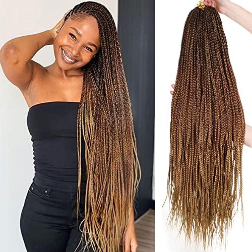 Unionbeauty 8Packs 30Inch Goddess Box Braids Crochet Hair Pre-looped Knotless Box Braids Medium Hair For Black Woman Crochet Braids Hair Synthetic Ombre Braiding Hair Extension 18Strands/Pack #53