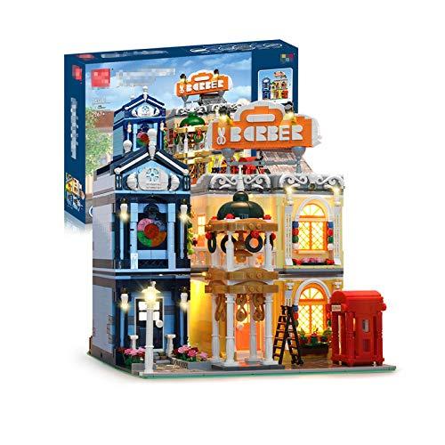 HLONGG City Barber Shop Kit De Construcción Lights Luces Nocturnas Casa Iluminada Y Cabinas Telefónicas Retro Rojas (2267 Piezas),O