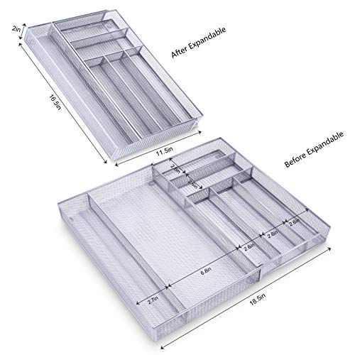 Mesh Kitchen Drawer Organizer Expandable, 7 Compartment Large Silverware Organizer/Cutlery Tray with Anti-Slip Mat, Adjustable Utensils Flatware Tray