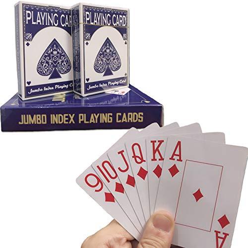 Spielkarte, Poker Size Standard Index , Spielkarten Großdruck Geeignet für ältere Menschen (2 Stück)