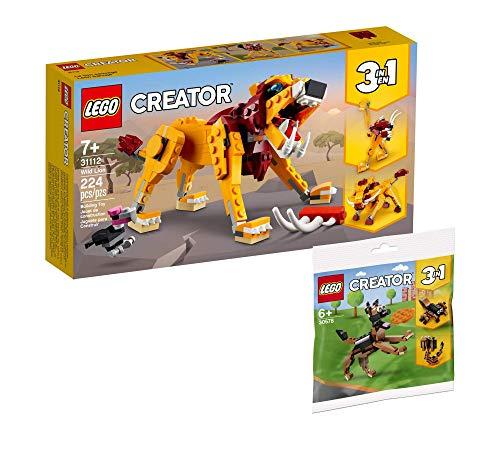Collectix Lego Set – Lego Creator 3 en 1 León salvaje 31112 + Lego Creator Pastor Alemán 30578