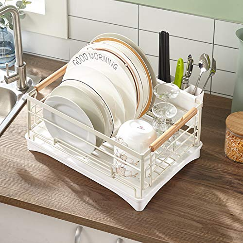HengLiSam Kitchen Dish Drainer, Dish Rack Dish Drying Rack with Full-Mesh Storage Basket (White)