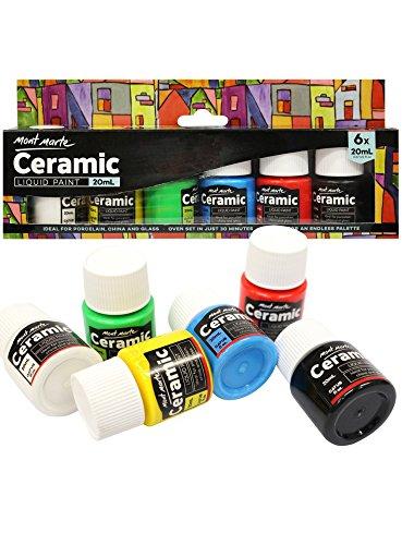Mont Marte Porzellanfarben Set - 6 Stück x 20ml - Waschfeste Keramikfarben - Hochwertige Farben - Ideal zum Bemalen von Tassen, Vasen und Schalen - Perfekt geeignet für Anfänger und Profis