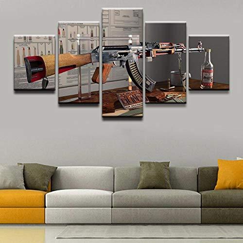 N/X Pintura de la Lona Arte de la Pared Imágenes 5 Piezas Armas AK-47 Cartel Impreso en Lienzo Decoración para el hogar para la Sala de Arte Obra Moderna, Enmarcado 30X40 30X60 30X80cm