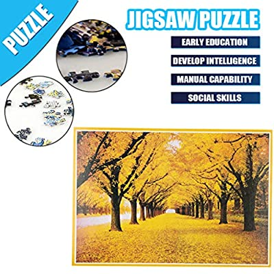 Luccase 1000 Piece Adult Puzzles Large Jigsaw Puzzles Game Toy Fall Leaves Interlocking Assembly Paper Piece Board Photo Decoration Stress Relief Gift for Adult Teen Child by Qomomont