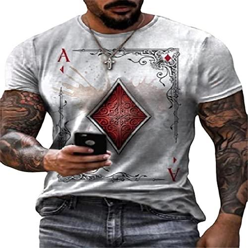 Casuales Camisa Hombre Moderna Personalidad Fresco Póquer Impresión Diseño Hombre Shirt Verano Básico Cuello Redondo Hombre Manga Corta Diario Casual All-Match Hombre Camiseta B-Grey S